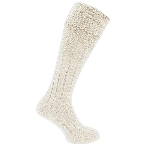 Herren-Socken, traditionelle, schottische Hochland-Socken zum Kilt, Hochzeit, Hogmanay,EU 39–45 Gr. 39-45, cremefarben