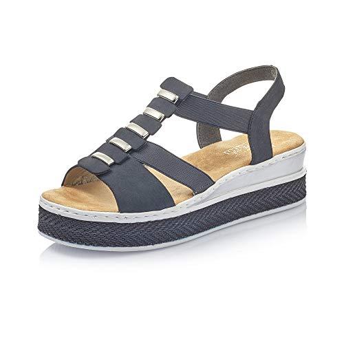 Rieker Mujer Sandalias de Vestir V48Y0, señora Sandalia de la Plataforma,Zapatos de Verano,cómoda Suela,Suela Gruesa,Pazifik,42 EU / 8 UK
