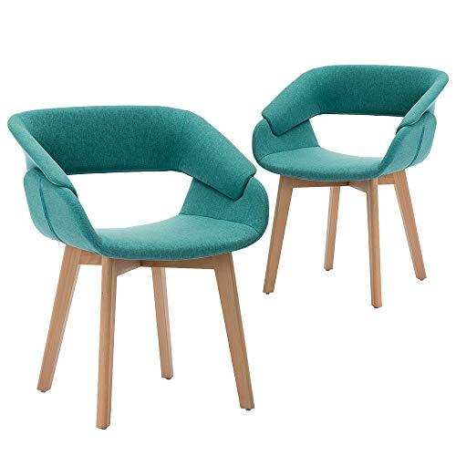 Teraves Esszimmerstuhl 2er Set Büro Lounge Wohnzimmer Küche Stuhl mit Holzbeinen Esszimmerstühle mit Armlehnen und Rückenlehne (2 pcs, Grün)
