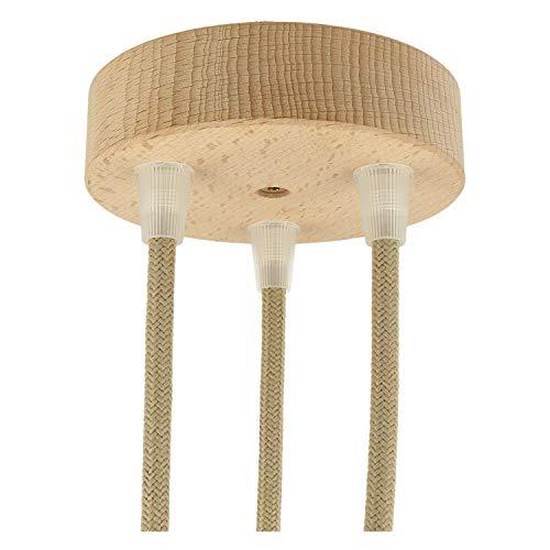 Flairlux Baldachin holz Lampe 3 loch rund für dekorative DIY Pendelleuchten
