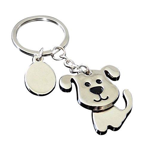Hacoly Cute Dog Puppy Keychain Aleación Llavero de Dibujos Animados Bolsa de Coche Colgante Adornos para Mujeres Hombres Recuerdo Regalo de Cumpleaños