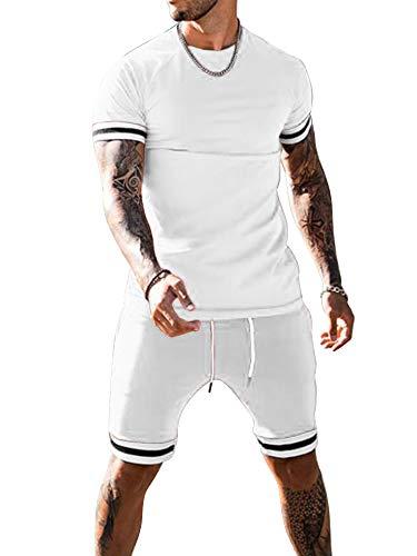 Conjunto de ropa casual de dos piezas, camiseta de manga corta con cuello redondo y pantalones cortos de cintura elástica