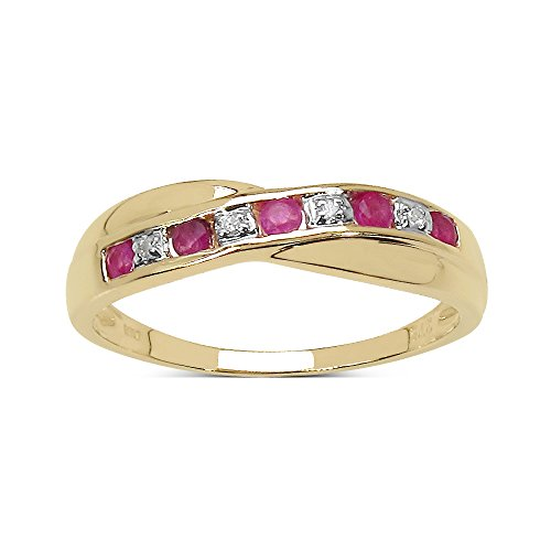 The Diamond Ring Collection: 9ct Gold 0.25ct Ruby & Diamond Channel Set Crossover Eternity Ring Size L