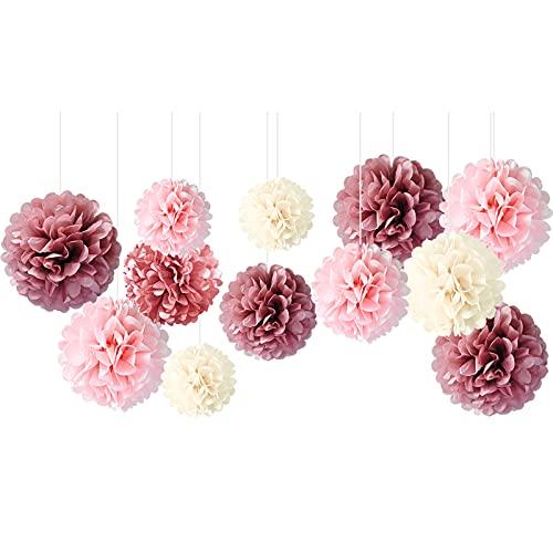 NICROLANDEE Hochzeitsdekorationen - 12 PCS Dusty Rose Blush Pink Tissue Pom Poms für Hochzeit Geburtstag Brautdusche Babyparty Verlobungsfeier Bachelorette Decke und Party Hintergrund Dekor