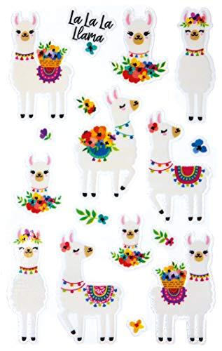 Avery Zweckform Lama 57294 Glittersticker, zelfklevende kleurrijke kinderstickers om te spelen, knutselen, verzamelen, voor vriendschapsboeken en poëziealbums