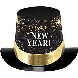 Amscan–25801'NY PRNT' sombrero de copa, negro/plata/oro, 15,2cm)