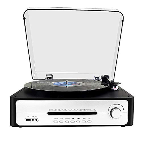 Platos Giradiscos de FM Monitora,DLITIME Giradiscos Vinilo 3 Speed Record Player con Altavoces Integrados, LP, Bluetooth, USB Vinyl Turntable