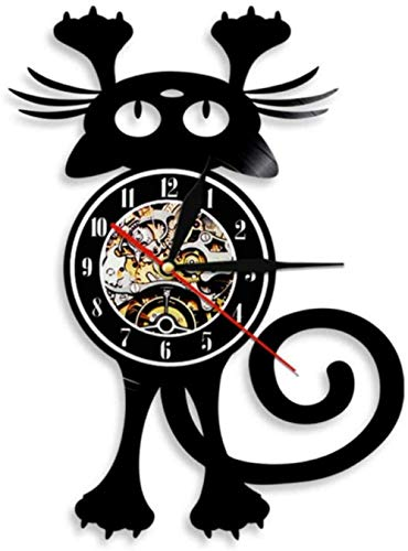 zgfeng Gato Retro Vinilo Reloj de Pared LP Animal Moderno Reloj Retro decoración del hogar Regalo Hecho a Mano para los Amantes de los Gatos-con LED