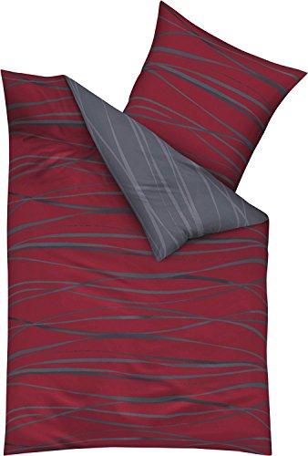 Kaeppel Edel - Seersucker Bettwäsche Motion rubinrot 1 x 80x80 + 1 x 155x220 cm