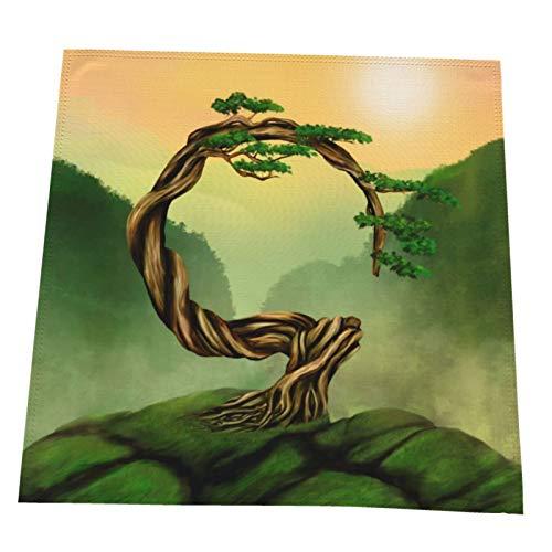 Juego de 4 servilletas de tela Enso Zen Circle Bonsái, suaves, lavables y reutilizables, servilletas de cena para casa, restaurante, hotel, boda, 50 x 50 cm