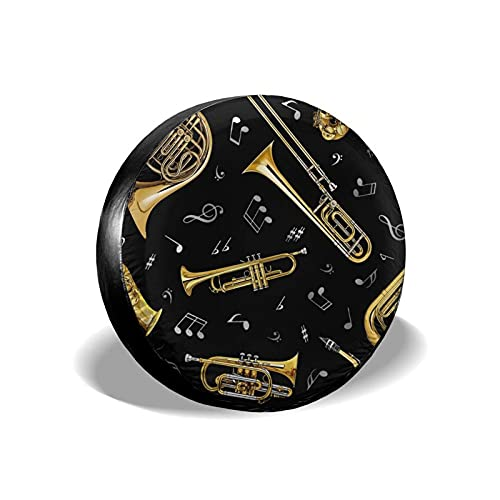VJSDIUD Spare Tire Cover Black Musical Instruments Music Note Tire Covers for Camper Trailer RV Car SUV Truck Travel Portable Universal Wheel Tire Protector Fit 17 Inch Tire Accessories Gift