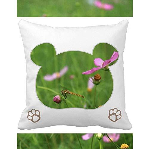 OFFbb-USA - Funda cuadrada para cojín, diseño de osito de flores, color rosa