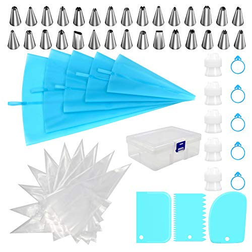 Piping Bags and Tips Set, HUAFA 68pcs Cake Decorating Tools, 5pcs Reusable Silicone Pastry Bags, 30 Stainless Nozzles, 20pcs Disposable Bags, Icing Smoother, Piping Bags Couplers and Frosting Ties