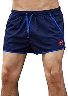BEESCLOVER Men Mesh Patchwork Beach Shorts Running Sports Shorts Gym Shorts Men Breathable Trunks Exercise Shorts
