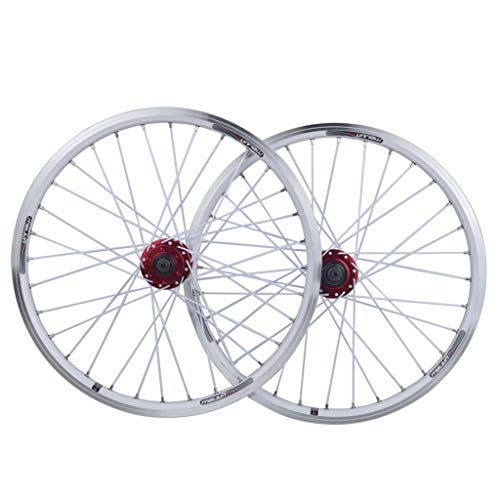 CHICTI 26inch Bike Wheelset Aluminum Alloy MTB Cycling Wheels V-Brake Disc Rim Brake Sealed Bearings 11 Speed Hybrid Bike Touring Outdoor (Color : White)