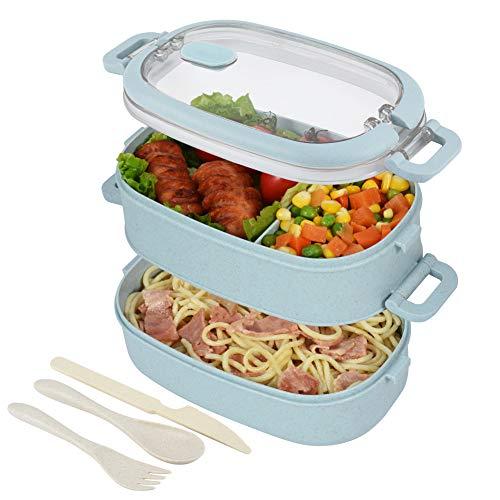 Hombrima Boite Repas - Boite Repas pour Enfant&Adulte en 2 étages, Boite bento hermétique, écologique. Idéale pour Le Pique-Nique, Le Travail, Le goûter. Passe au Micro-Ondes et Lave-Vaisselle