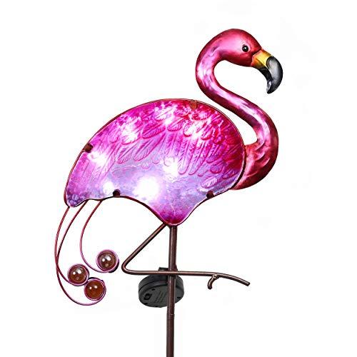 TERESA'S COLLECTIONS Flamingo Gartenfigur Solarleuchte im Freien 108cm Solar LED Gartenleuchte Metall und Glas Wasserdichte Wegeleuchte mit Erdspieß Solarlampe Gartendeko für Außen Terrasse Hof Rasen