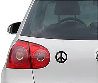 INDIGOS UG Aufkleber   Autoaufkleber   JDM   Die Cut   Peace Sign Sticker Symbol Auto Truck Fenster Sticker   schwarz   88mmx88mm