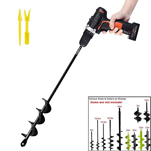 """Garden Auger Drill Bit 1.6x16.5inch Garden Auger Spiral Drill Bit Rapid Planter for 3/8"""" Hex Drive Drill - for Tulips, Iris, Bedding Plants and Digging Weeds Roots"""
