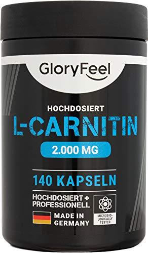 GloryFeel® L-Carnitin Kapseln Hochdosiert 3000-140 vegane Kapseln - 3.000mg original L-Carnitintartrat davon 2.000mg reines L-Carnitin - Laborgeprüft und ohne Zusätze hergestellt in Deutschland