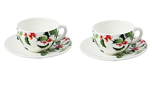 """Gien Holly """"Christmas Noel"""" Breakfast cup and saucers set (Pair)"""