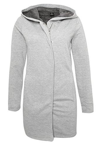 Sublevel Damen Sweatjacke mit Innenfleece | Hoodie | Langer Sweat-Pullover mit Kapuze Light-Grey XS