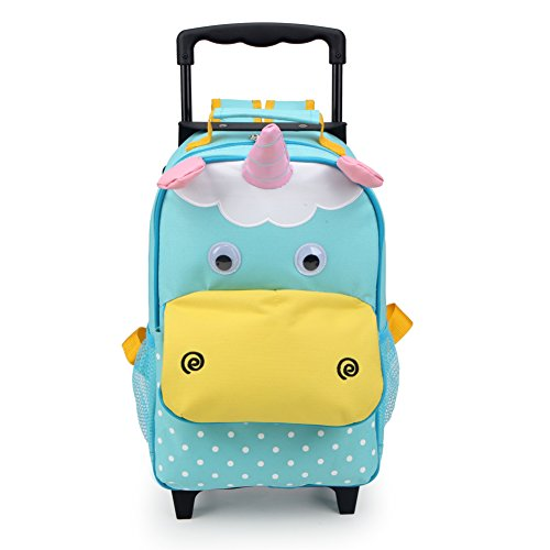 Yodo 3-Way Toddler Backpack with Wheels Little Kids Rolling Luggage, Unicorn