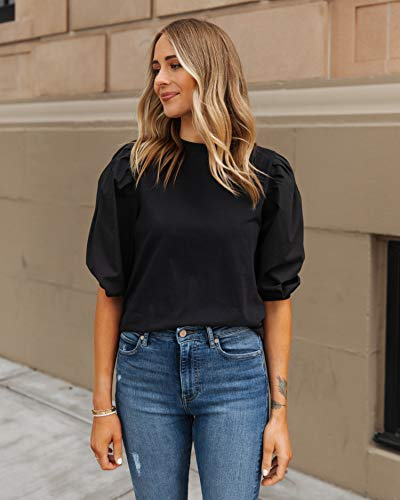 The Drop Women's Black Combined Fabric Pleated Puff-Sleeve Top by @fashion_jackson