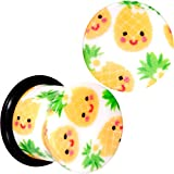 Body Candy 00G 2Pc Ear Plugs White Acrylic Pretty Pineapple Single Flare Ear Plug Gauges Set of 2 10mm