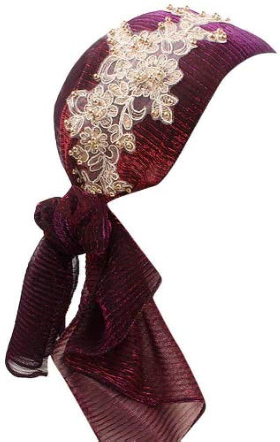 Kanhan Women Retro Country Garden Scarf Wrap Cap Flower Beading Turban Brim Hat (Dark Purple) nwucefiqajx2