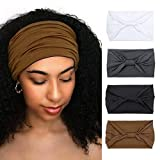 Wide Headbands for Women Black Stylish Head Wraps Boho Thick Hairbands Large African Sport Yoga Turban Headband Hair Accessories (Pack of 4)