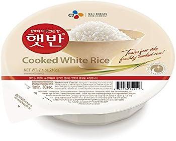 12-Pack CJ Rice Cooked White Hetbahn, 7.4-oz