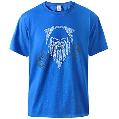WDBAYXH Hombre Camisetas Estampadas de Algodón Vikingo Odin Raven, Coloridas Camisetas Clásicas con Cuello Redondo Holgadas Manga Corta, Novedad Vintage Personalidad Streetwear Tops,Azul,2XL