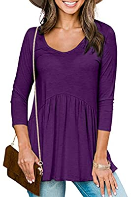 Womens Fall Tops Peplum Flared Tunic Swing Shirts Ruffle Tops Round Neck Baby Doll Blouse Purple L