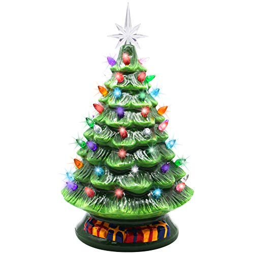 Blissun 15' Ceramic Christmas Tree, Tabletop Christmas Tree Lights Decorations with 63 Multicolored Lights and 7 Point Star Topper for Christmas Table Decorations