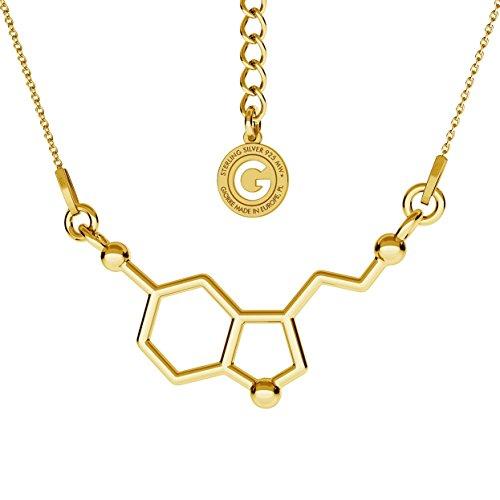 GIORRE ¤ Neu Serotonin Halskette Chemische Formel ¤ Feine Sterling Silber 925 SILBER : Yellow 24K Gold Plating