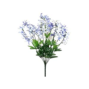 22″ Bouquet Blue Cream Freesia Bush Artificial Silk Flowers LivePlant