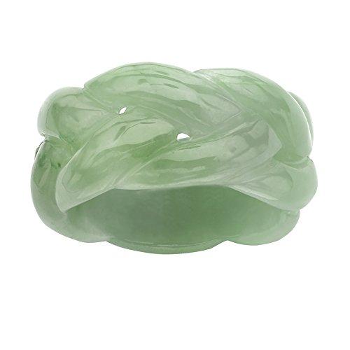Genuine Green Jade Braided Eternity Ring Size 7
