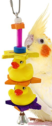 Bonka Bird Toys 1323 Duck Duck Bird Toy Parrot cage Parakeet Cockatiel Bell Wood chew Climbing Treat Play Forage Shred Aviary Supplies Swing Playground