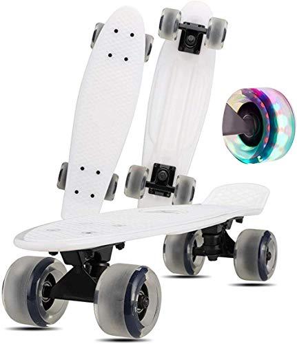 Skateboarding - Patineta completa con ruedas iluminadas para niños, niñas, adolescentes, principiantes, monopatín, color blanco