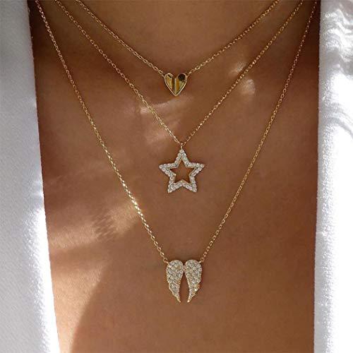 Handcess Boho Collar en capas Collares con colgante de estrella dorada Gargantilla de corazón con cristal para mujeres y niñas