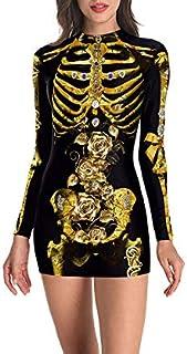 Abiti Slim di Halloween Maniche Lunghe Clubwear Costume di Halloween per Donna Vestito Aderente da Festa XXL A