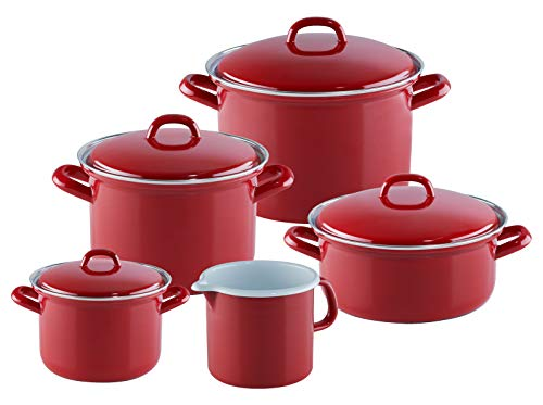Riess, 0509-030 Lot de 5 casseroles émaillées Rouge 14, 18 et 22 cm Casserole avec couvercle 20 cm et bec 12 cm