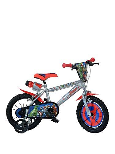 Avengers Kinderfahrrad Marvel Jungenfahrrad – 14 Zoll | Original Lizenz | Kinderrad mit Stützrädern und Trinkflasche - Das Fahrrad aus Avengers als Geschenk für Jungen