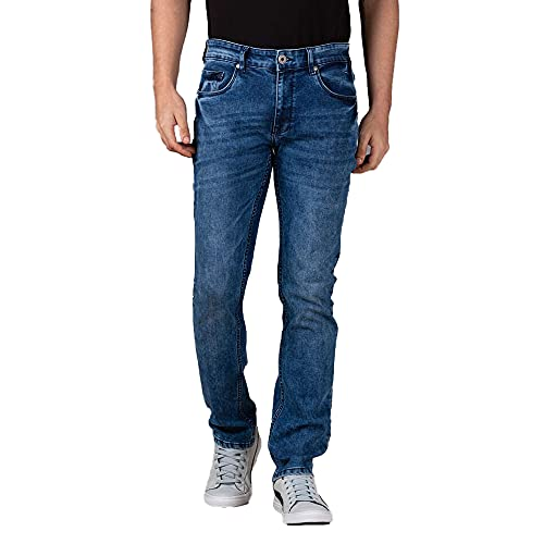 INFUSE by Shoppers Stop Mens Cotton Lycra Slim Fit Washed Denim (A21INFDLF08-P)