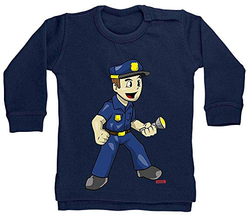 HARIZ Pull pour bébé Polizist Witzig Torche de police, carte cadeau Witizg Plus bleu Marinière bleu foncé. 6-12 mois