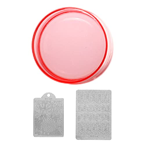 Clear Silicone Nail Art Stamper Avec Grattoir Diy Manuicure Manuicure Tools D'impression 3.8cm Rouge