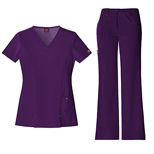 Dickies Xtreme Stretch Women's 82851 V-Neck Top & 82011 Drawstring Pant Medical Uniform Scrub Set (Eggplant - X-Small)