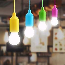Lampop 4pcs LED Pull Cord lumière, Lanterne de camping Ampoule Portable lumière Cordon LED Piles Ampoule Décorative pour…