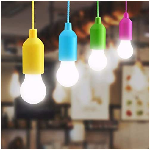 Lampop 4pcs LED Pull Cord lumière, Lanterne de camping Ampoule Portable lumière Cordon LED Piles Ampoule Décorative pour… – Détecteur Carpe